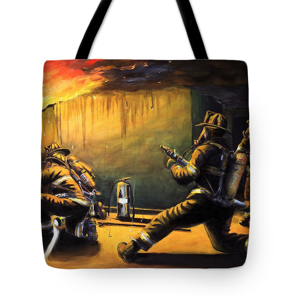 Firefighting Tote Bag featuring the painting Devil's Doorway II by Paul Walsh