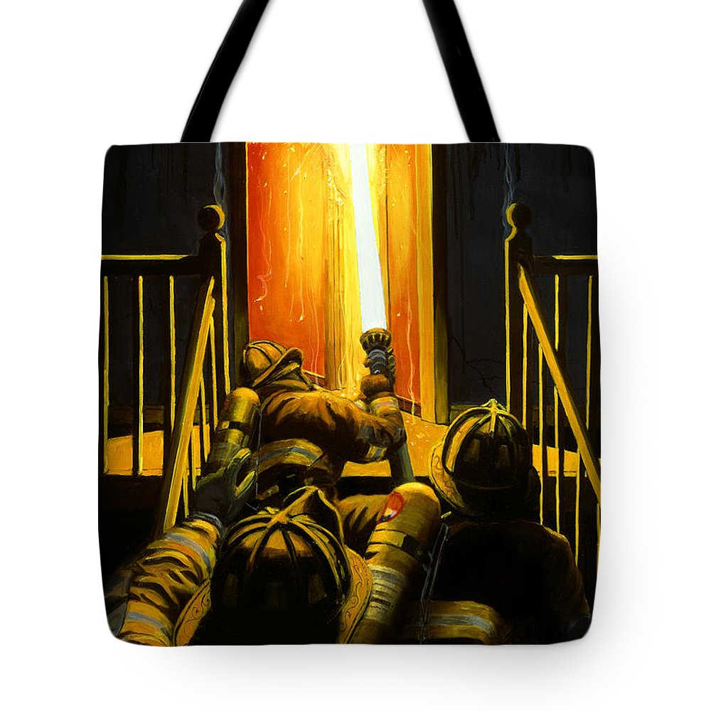 Firefighting Tote Bag featuring the painting Devil's Stairway by Paul Walsh