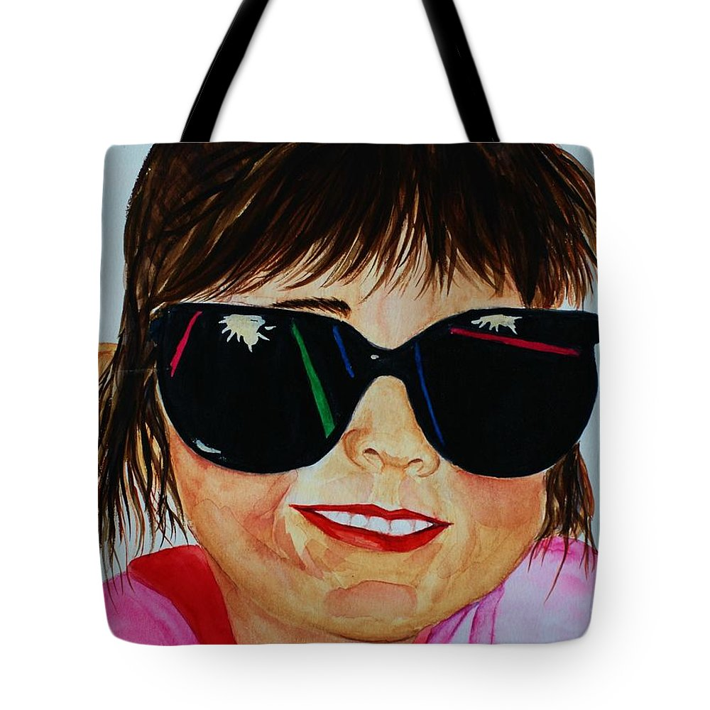 Girl Tote Bag featuring the painting Devin by Melinda Etzold