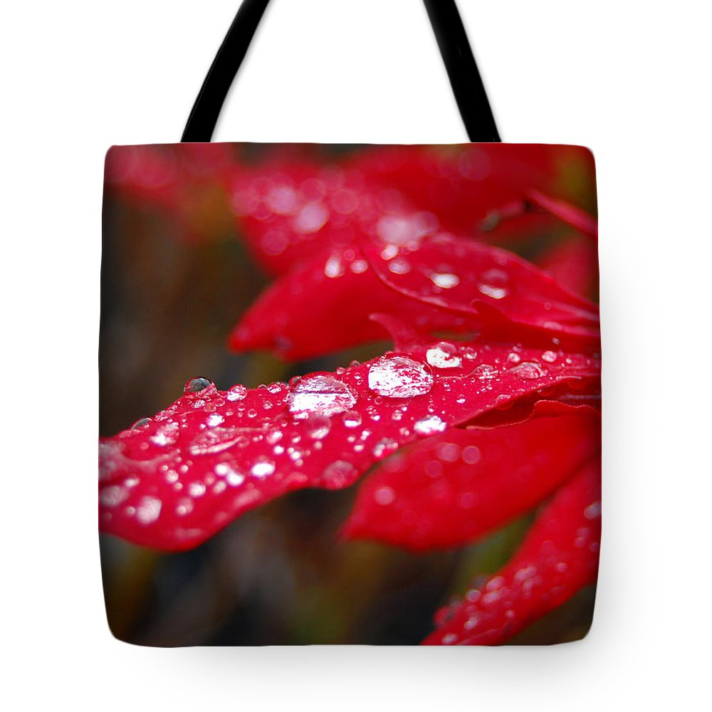 Red Tote Bag featuring the photograph Dewy Petals by Amy Fose