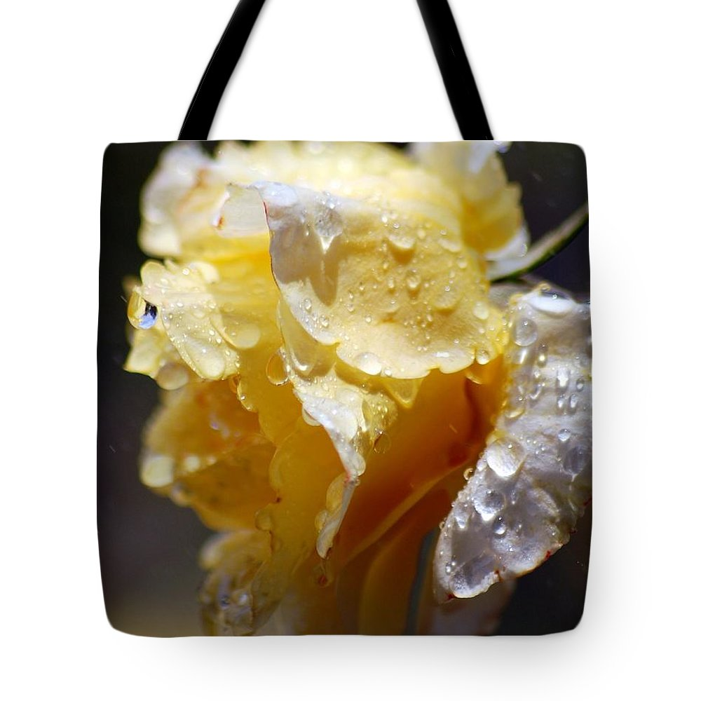 Rose Tote Bag featuring the photograph Dewy Yellow Rose 2 by Amy Fose
