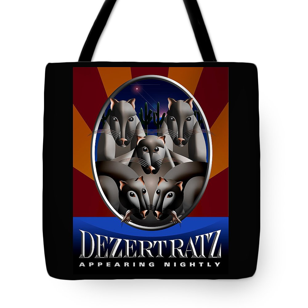 Country-rock Tote Bag featuring the painting Dezert Ratz Poster by Richard Nodine