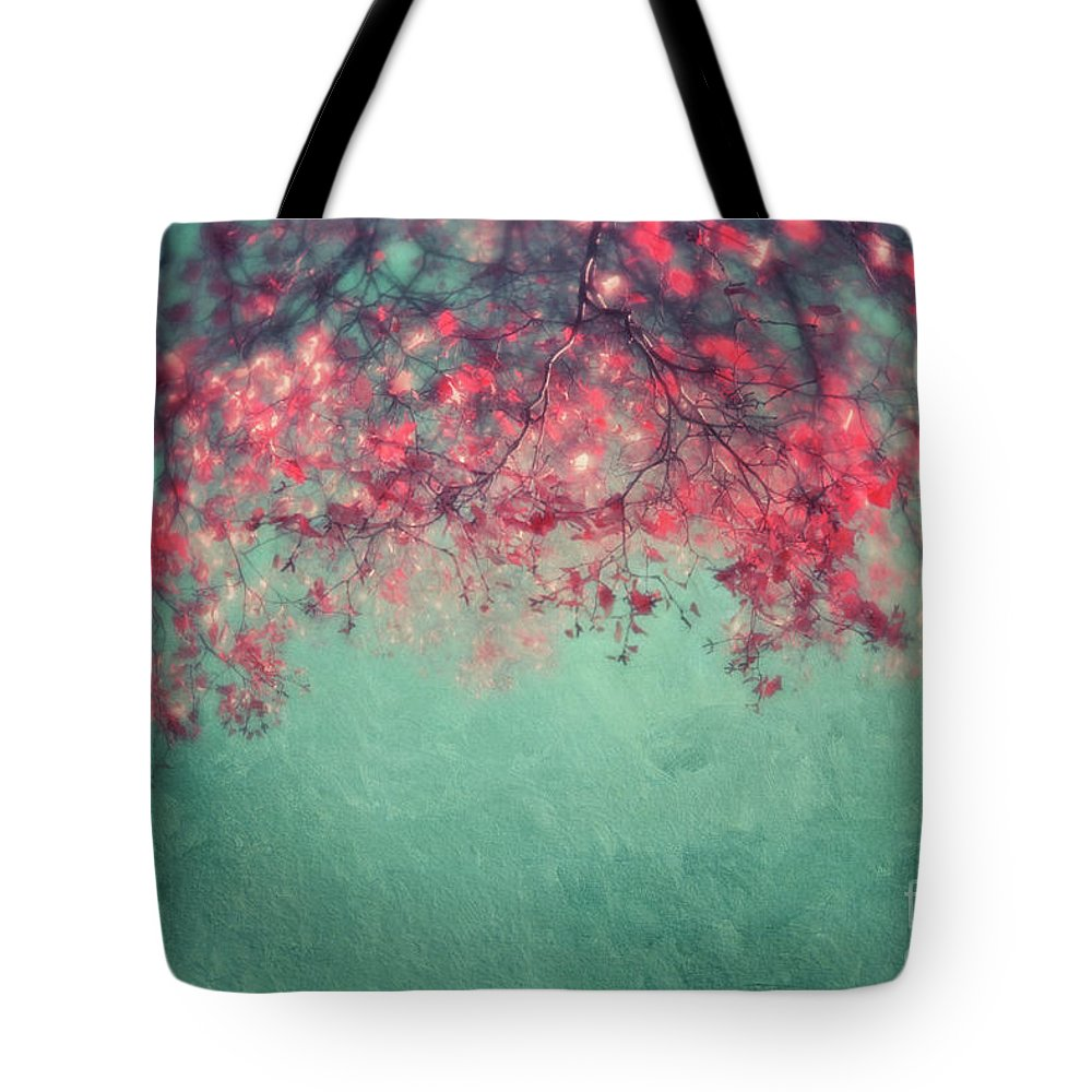 Turquoise Tote Bag featuring the photograph Leaves by Priska Wettstein