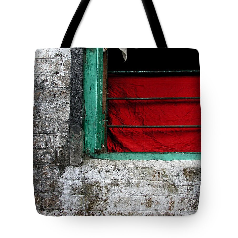 Red Tote Bag featuring the photograph Dharamsala Window by Skip Hunt