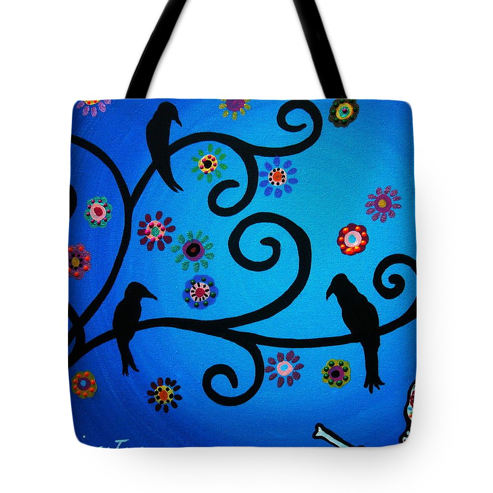 Crows Tote Bag featuring the painting Dia De Los Muertos Crows by Pristine Cartera Turkus