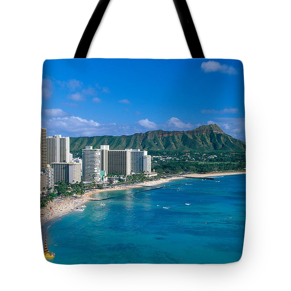 Aerial Tote Bag featuring the photograph Diamond Head And Waikiki by William Waterfall - Printscapes