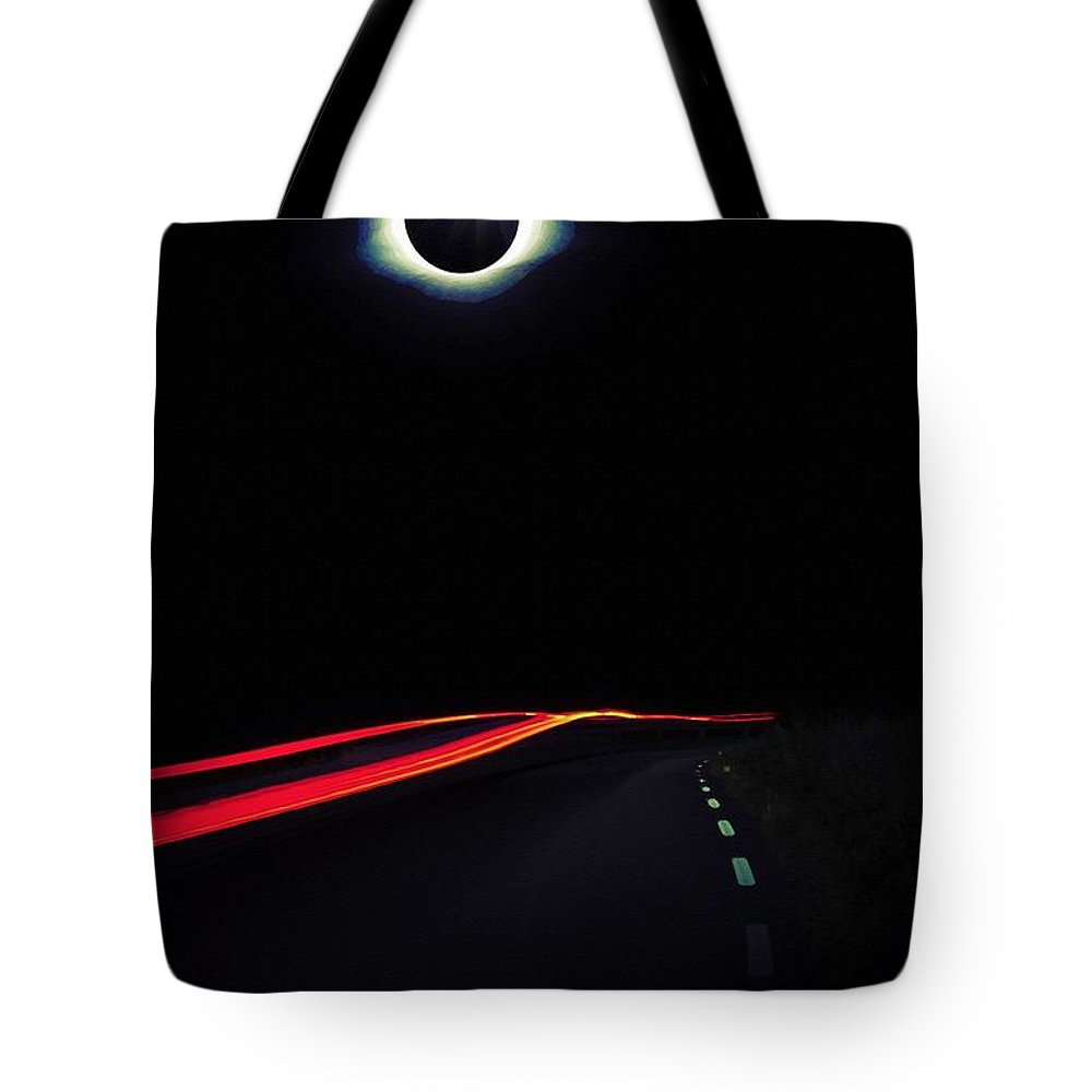 Nature Tote Bag featuring the painting Diamond Ring Solar Eclips Over Route 66 By Adam Asar 2 by Adam Asar