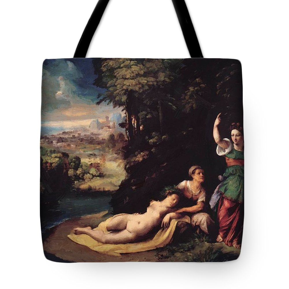 Diana Tote Bag featuring the painting Diana And Calisto 1528 by Dossi Dosso