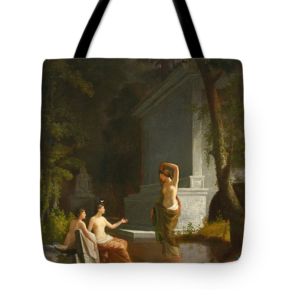 Samuel Finley Breese Morse Tote Bag featuring the painting Diana At The Fountain by Samuel Finley Breese Morse