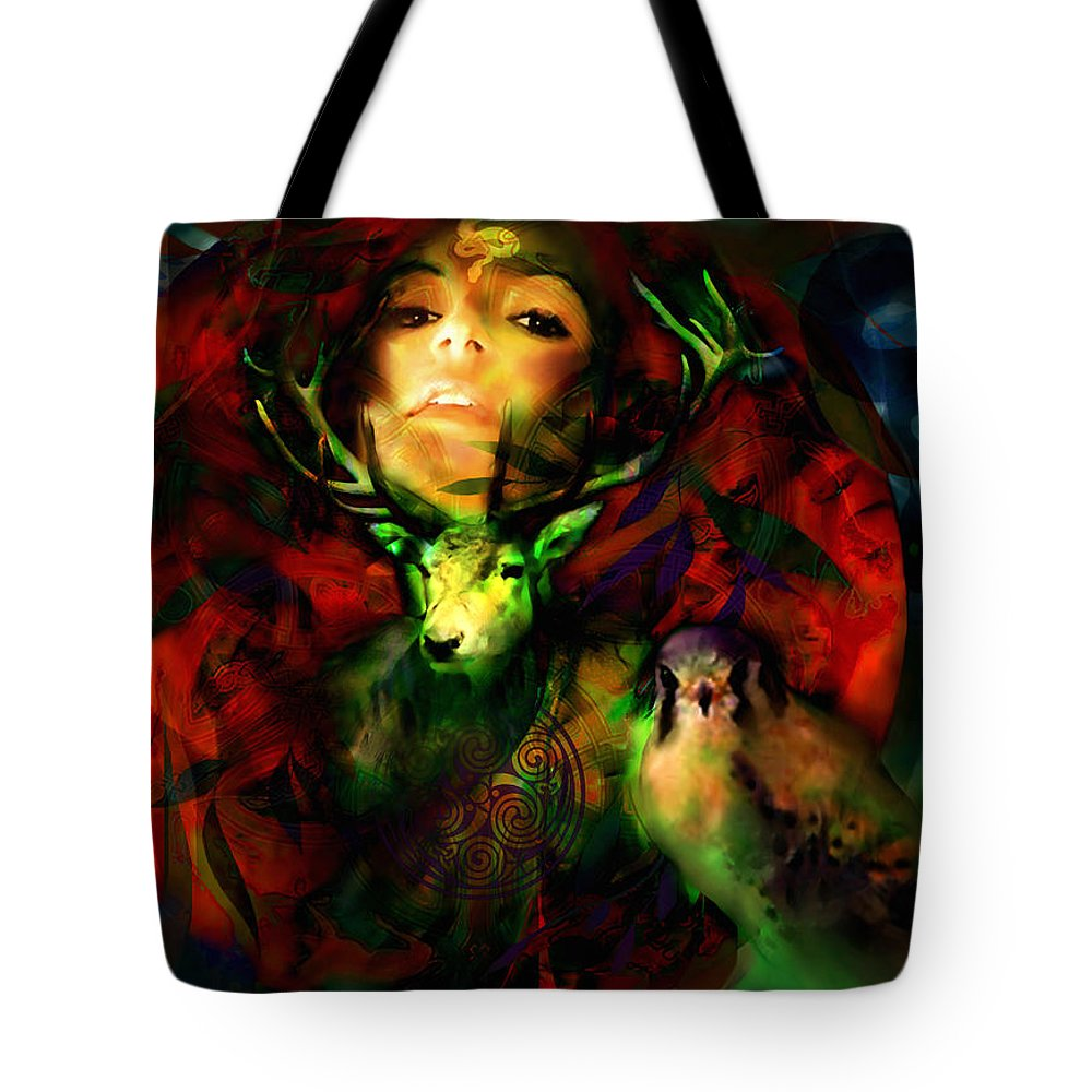 Spiritual Tote Bag featuring the digital art Dianas Blood Moon by Stephen Lucas