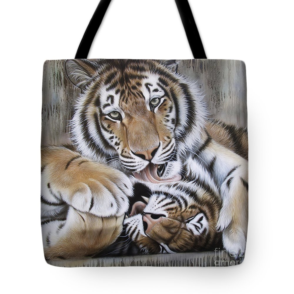 Acrylic Tote Bag featuring the painting Diana's Duo by Sandi Baker