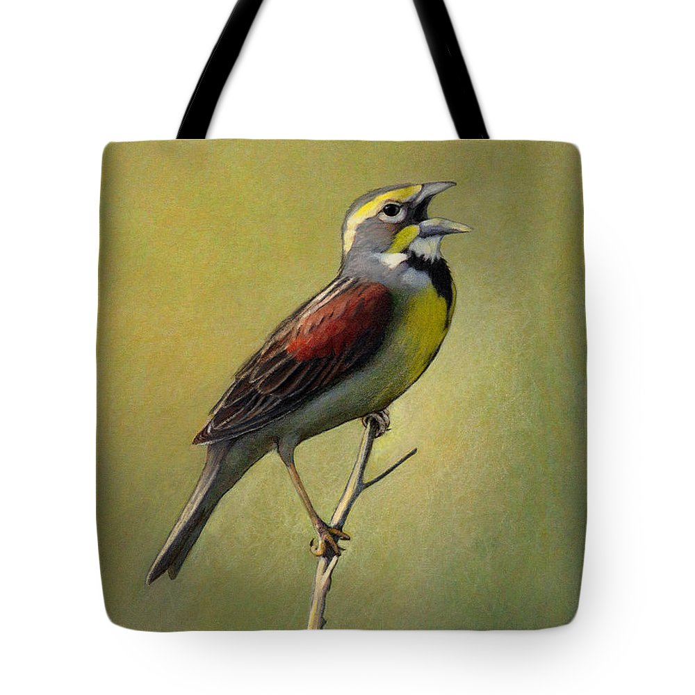 Birds Tote Bag featuring the drawing Dickcissel Summer Song by Bruce Morrison