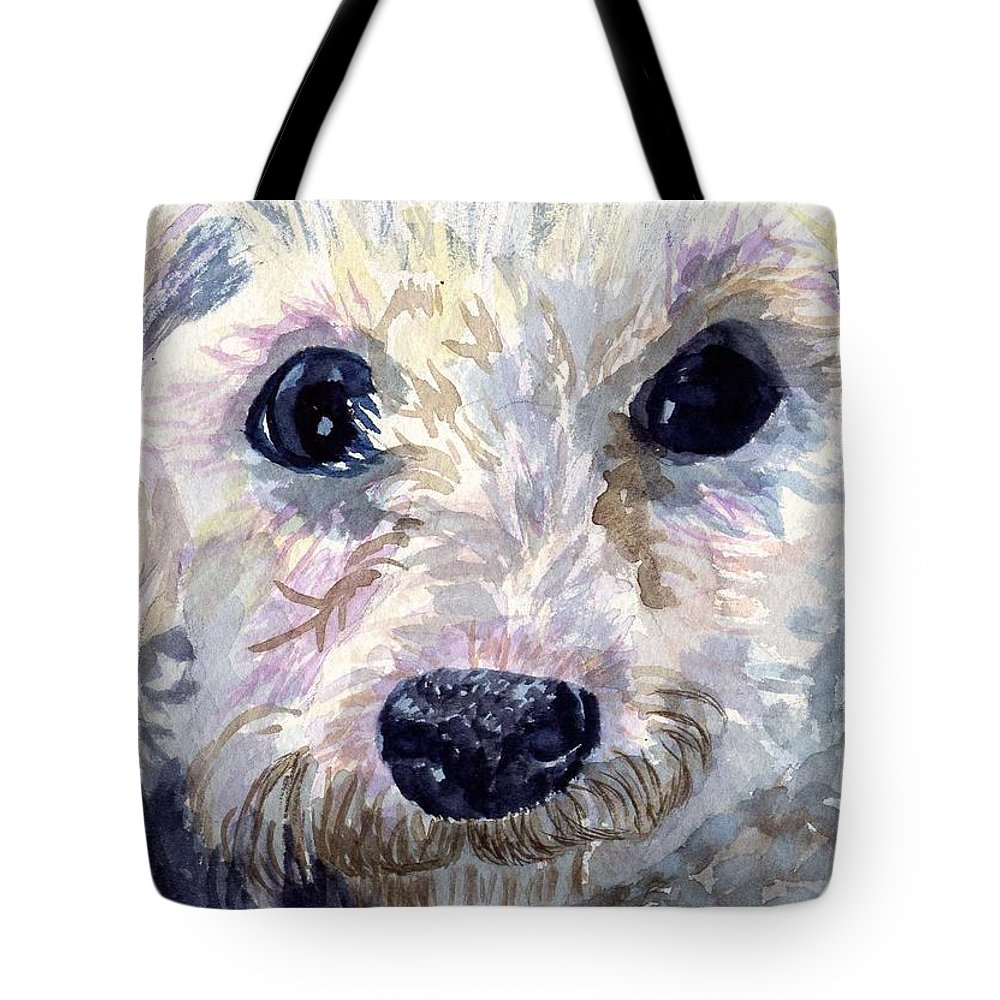 Bichon Frise Tote Bag featuring the painting Did You Say Lunch by Sharon E Allen