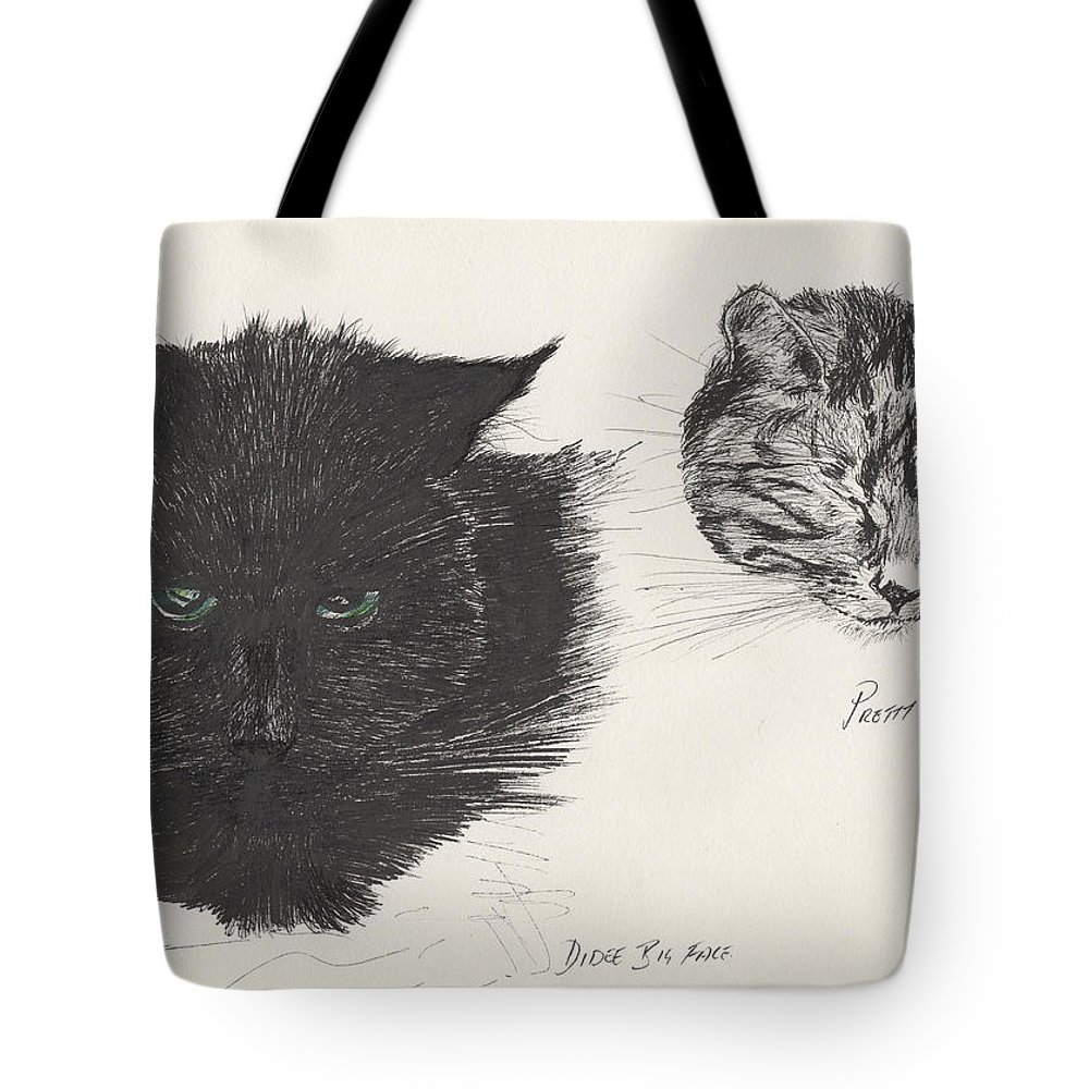 Cat Tote Bag featuring the painting Diddybigface And Colliebeastie by Vincent Alexander Booth