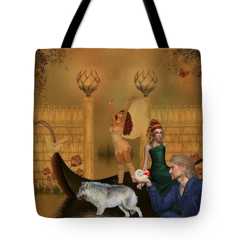 Wolf Tote Bag featuring the digital art Different Dreams by RiaL Treasures