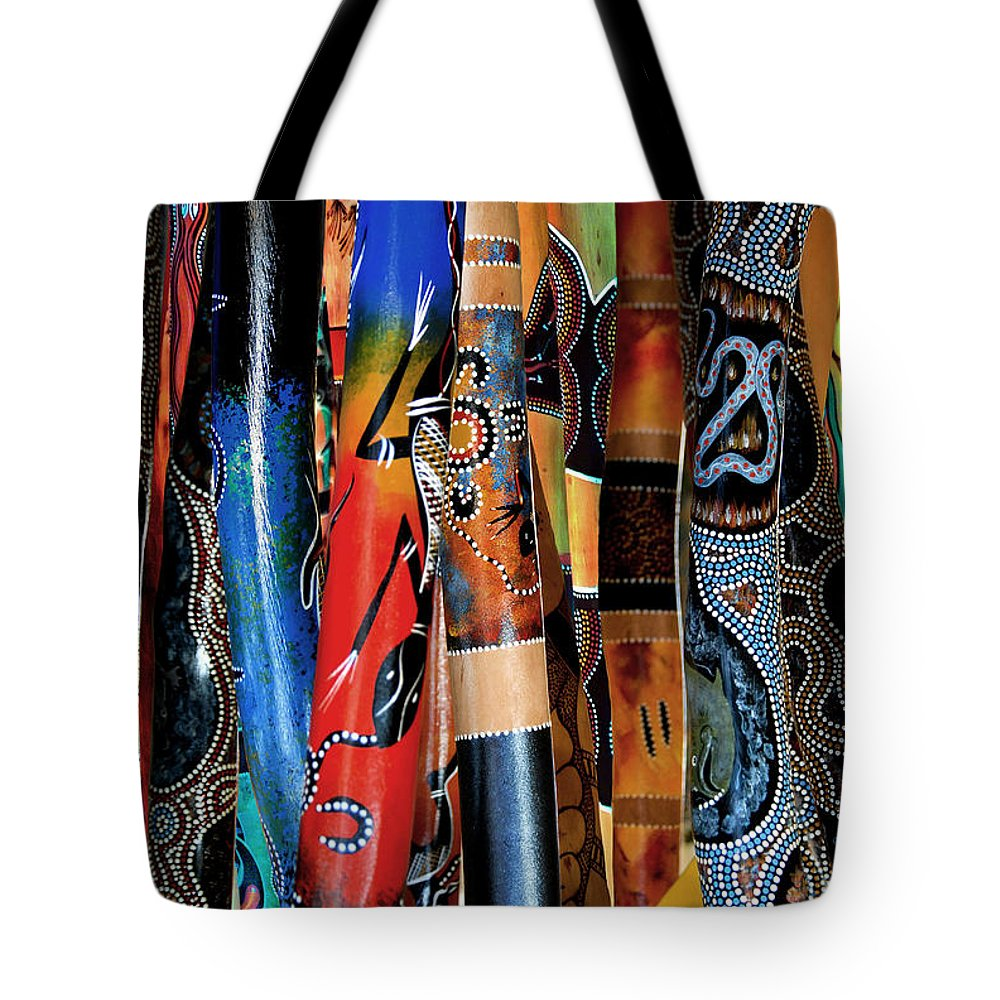 Digeridoo Tote Bag featuring the photograph Digeridoos by Robert Lacy
