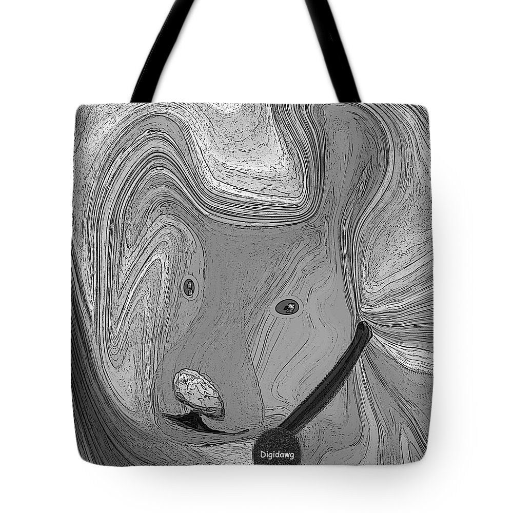 Ruth Palmer Abstract Black And White Digital Dog Dogs Animals Humor Funny Tote Bag featuring the digital art Digidawg by Ruth Palmer