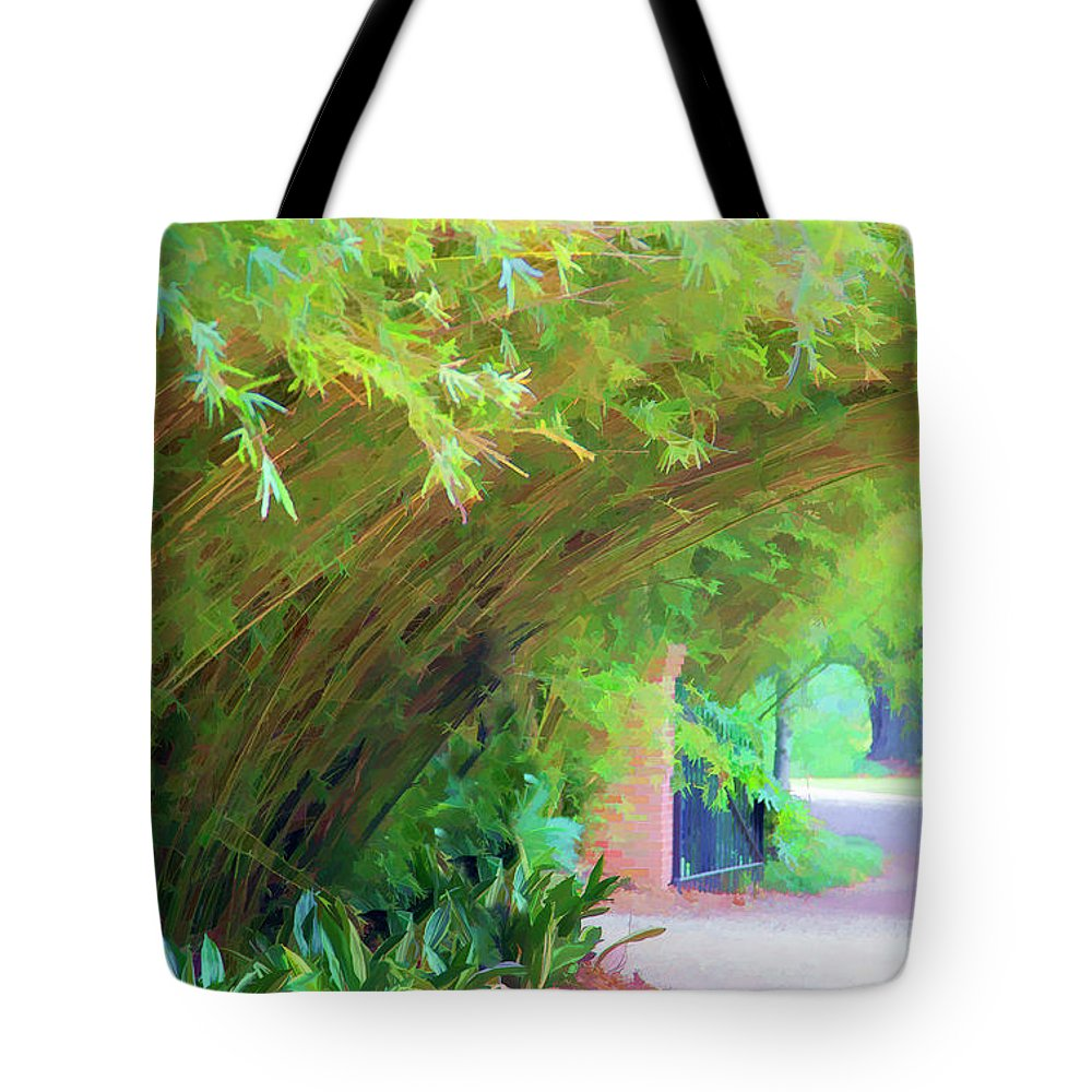 Landscape Tote Bag featuring the photograph Digital Bamboo Rip Van Winkle Gardens by Chuck Kuhn