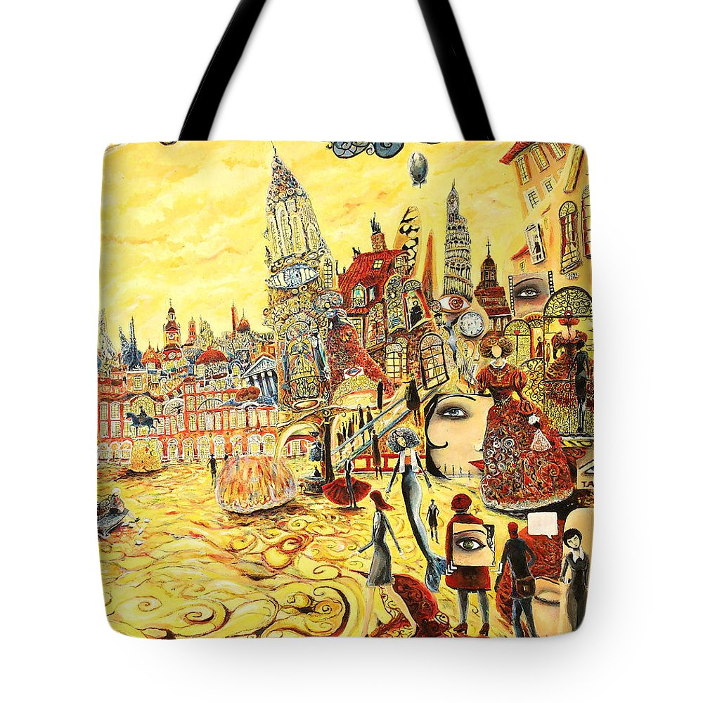 Cityscape Tote Bag featuring the painting Digital Dreams Of A Young Woman From Buenos Aires In Madrid by Carlos Pardo