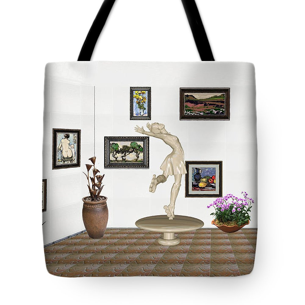 People Tote Bag featuring the mixed media digital exhibition _ A sculpture of a dancing girl 8 by Pemaro