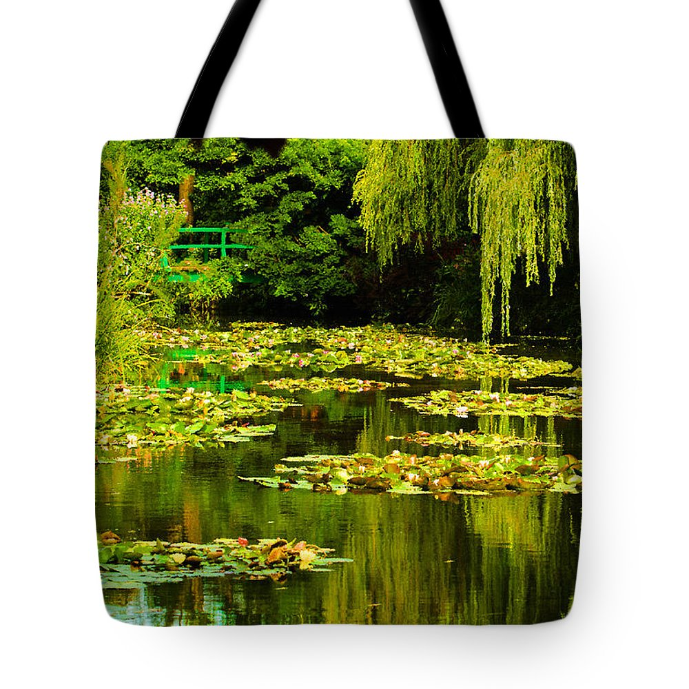 Water Tote Bag featuring the photograph Digital Paining Of Monet's Water Garden by MaryJane Armstrong