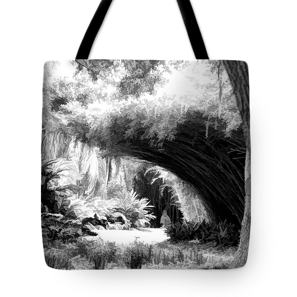 Landscape Tote Bag featuring the photograph Digital Paint Black White Landscape Louisiana by Chuck Kuhn