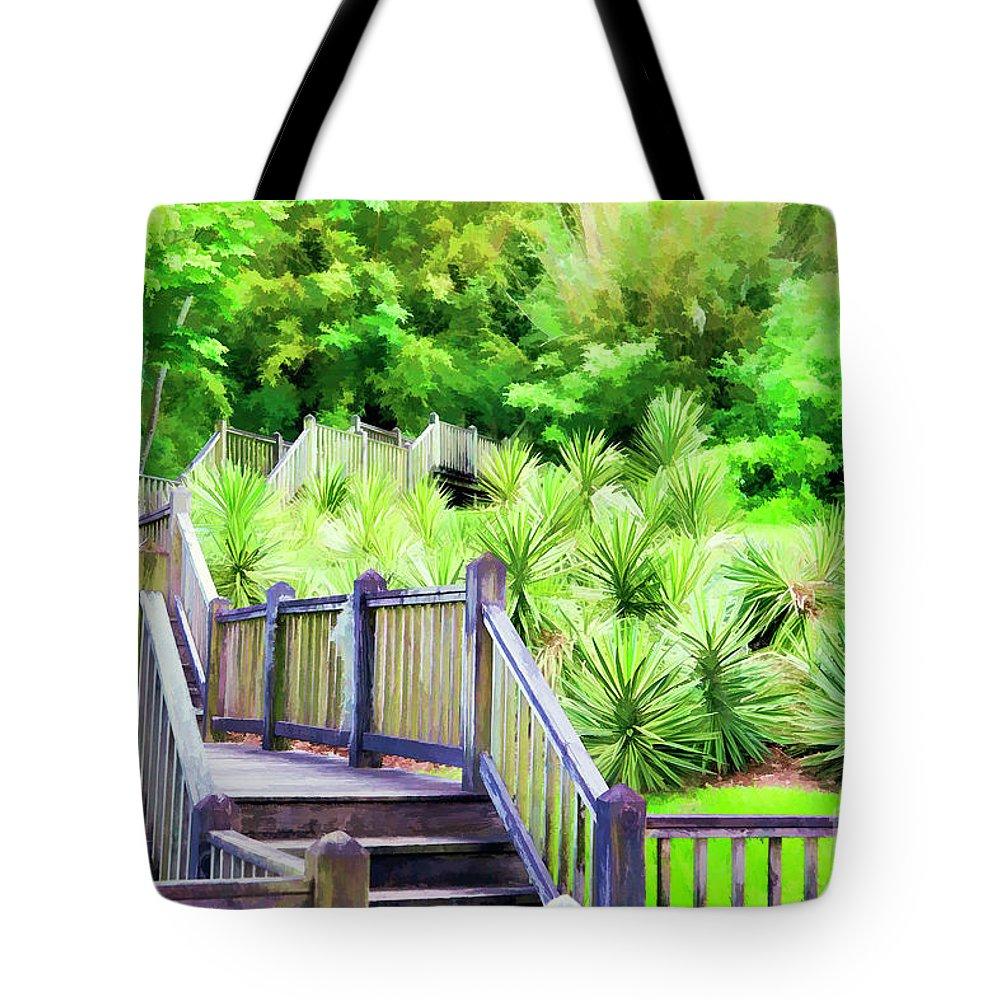 Landscape Tote Bag featuring the photograph Digital Paint Landscape Jefferson Island by Chuck Kuhn