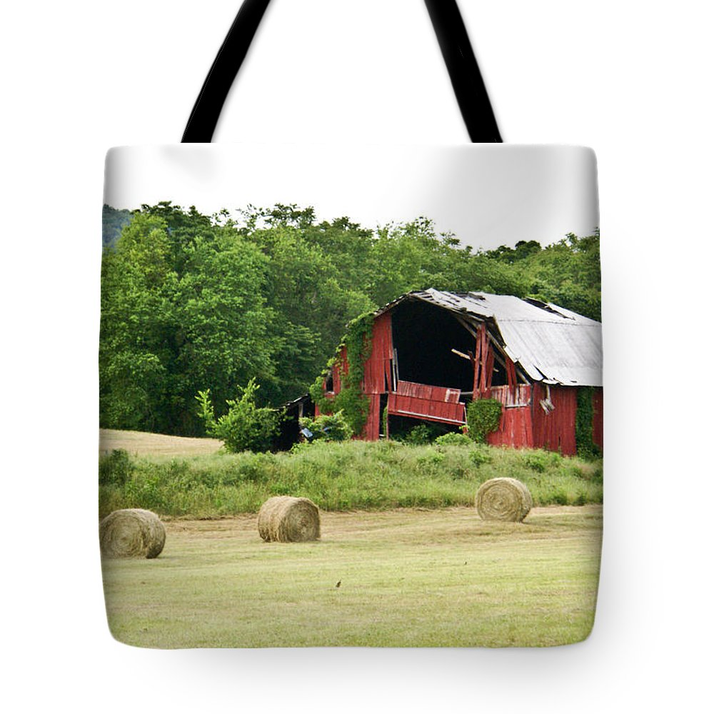 Old Tote Bag featuring the photograph Dilapidated Old Red Barn by Douglas Barnett