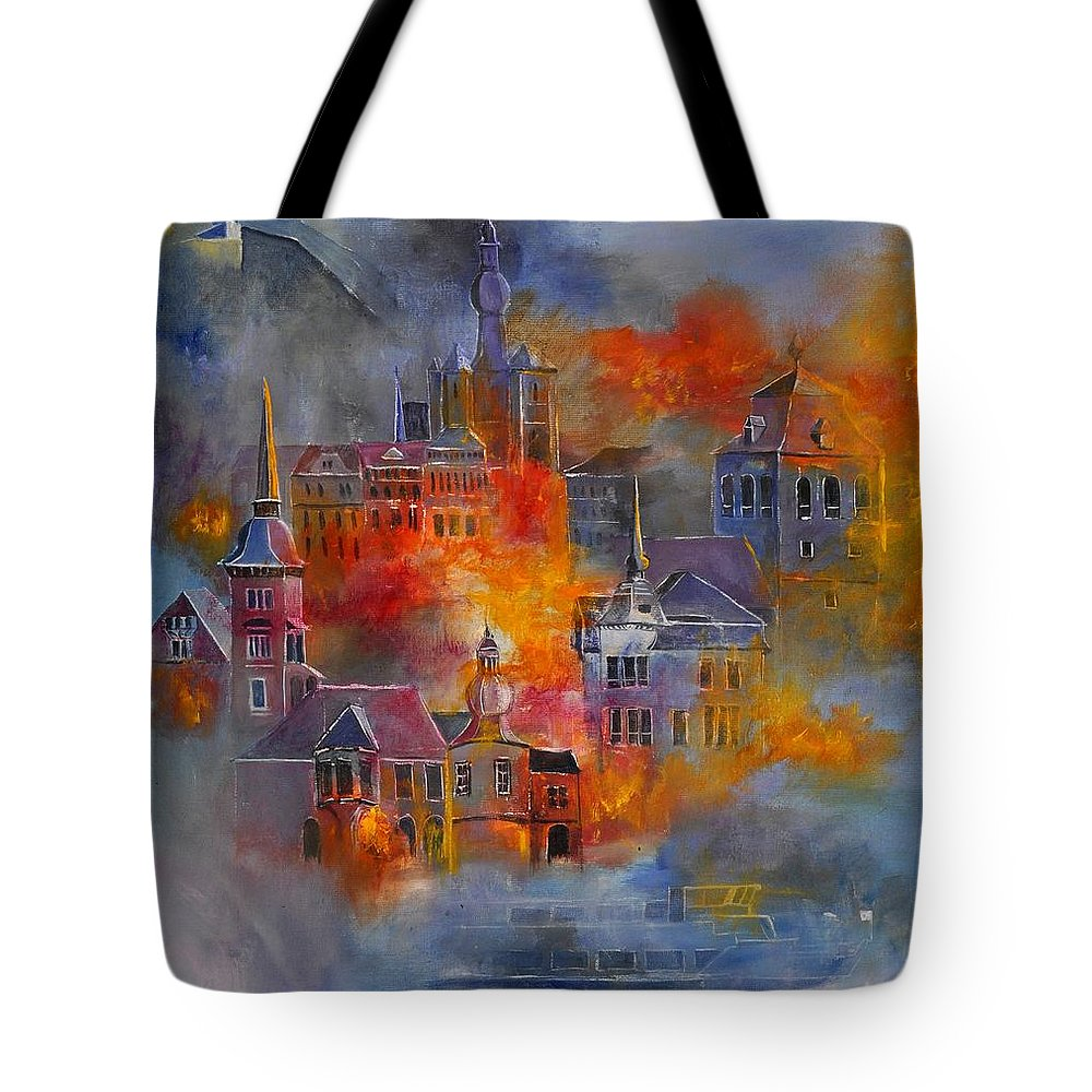 Urban Landscape Tote Bag featuring the painting Dinant 670150 by Pol Ledent