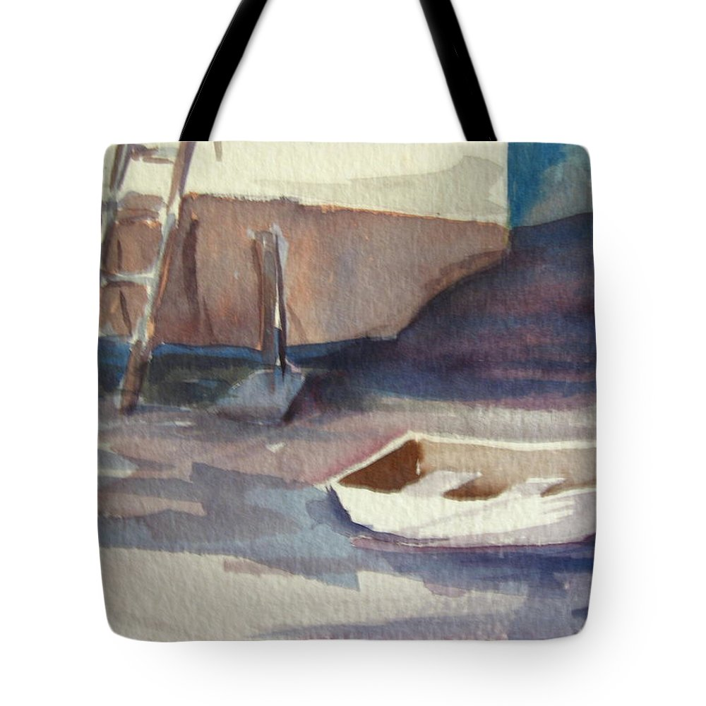 Boats Tote Bag featuring the painting Dinghy by Carol Mueller