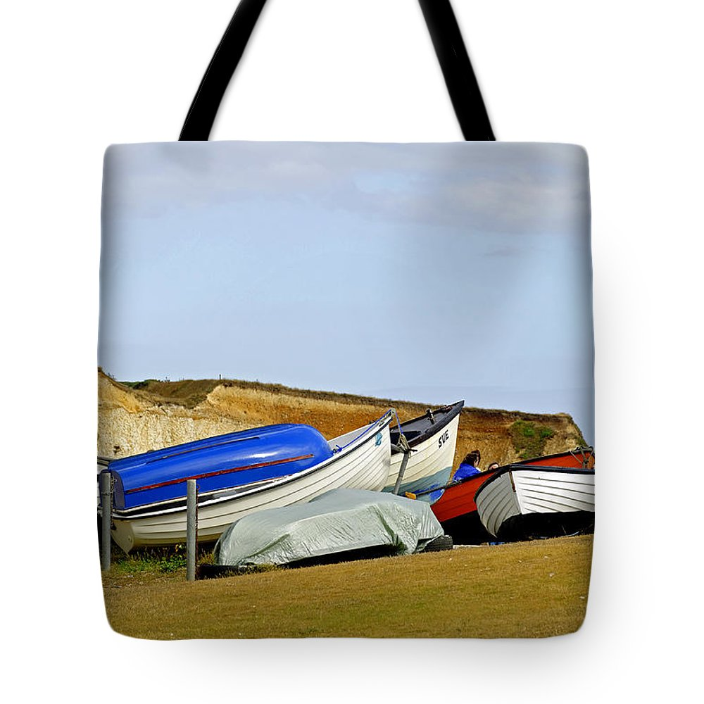 Isle Of Wight Tote Bag featuring the photograph Dinghy Park At Freshwater Bay by Rod Johnson
