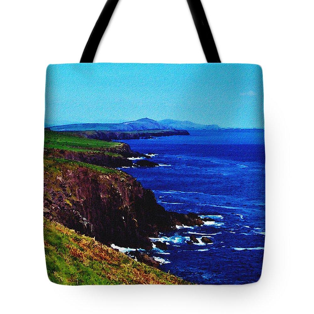 Irish Tote Bag featuring the digital art Dingle Coastline Near Fahan Ireland by Teresa Mucha