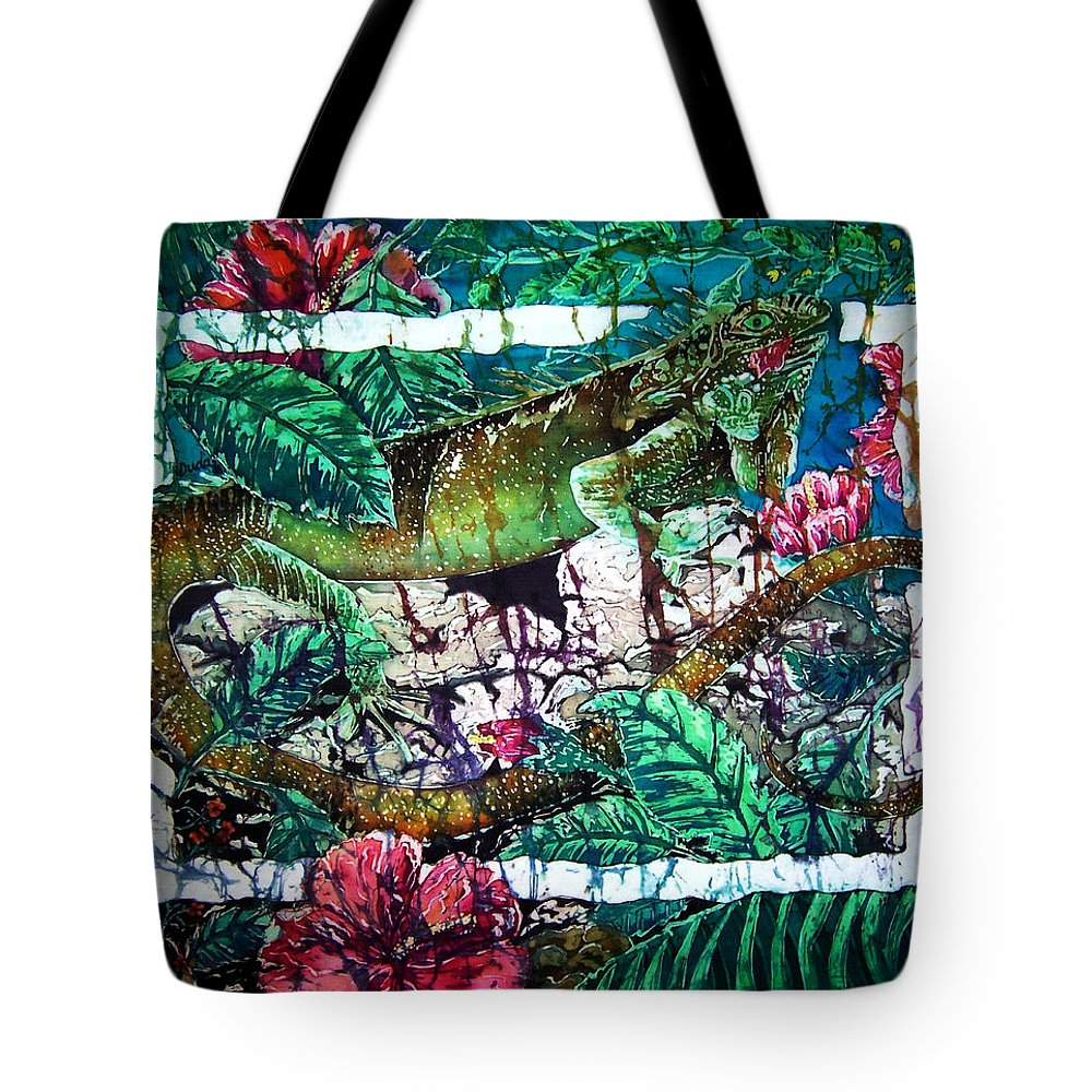 Iguana Tote Bag featuring the painting Dining At The Hibiscus Cafe - Iguana by Sue Duda