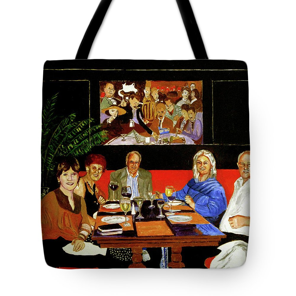 Algonquin Hotel Tote Bag featuring the painting Dinner At Th Algonquin Hotel by James Gallagher