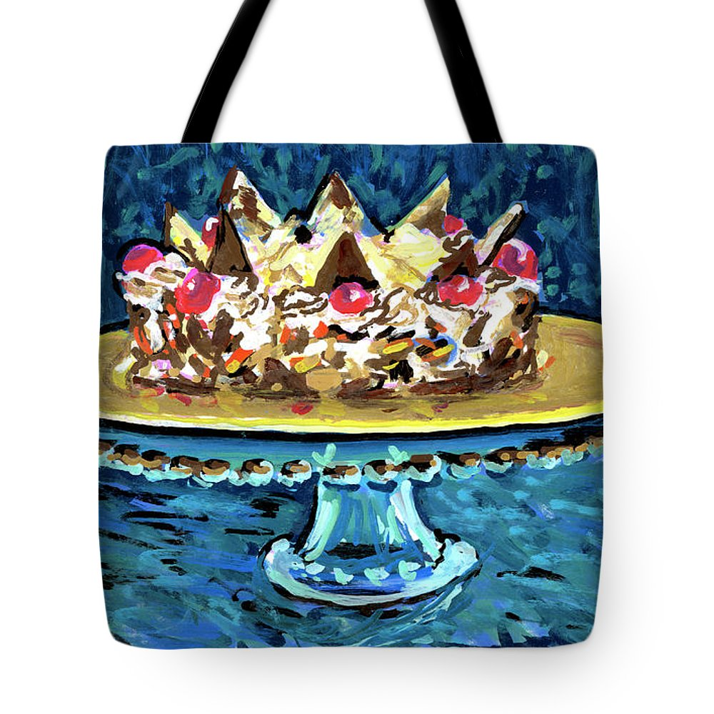 Cake Tote Bag featuring the drawing Dinner Cake by Candace Lovely
