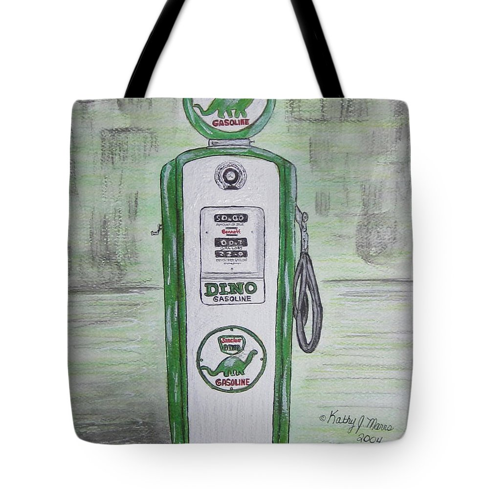 Dino Tote Bag featuring the painting Dino Sinclair Gas Pump by Kathy Marrs Chandler