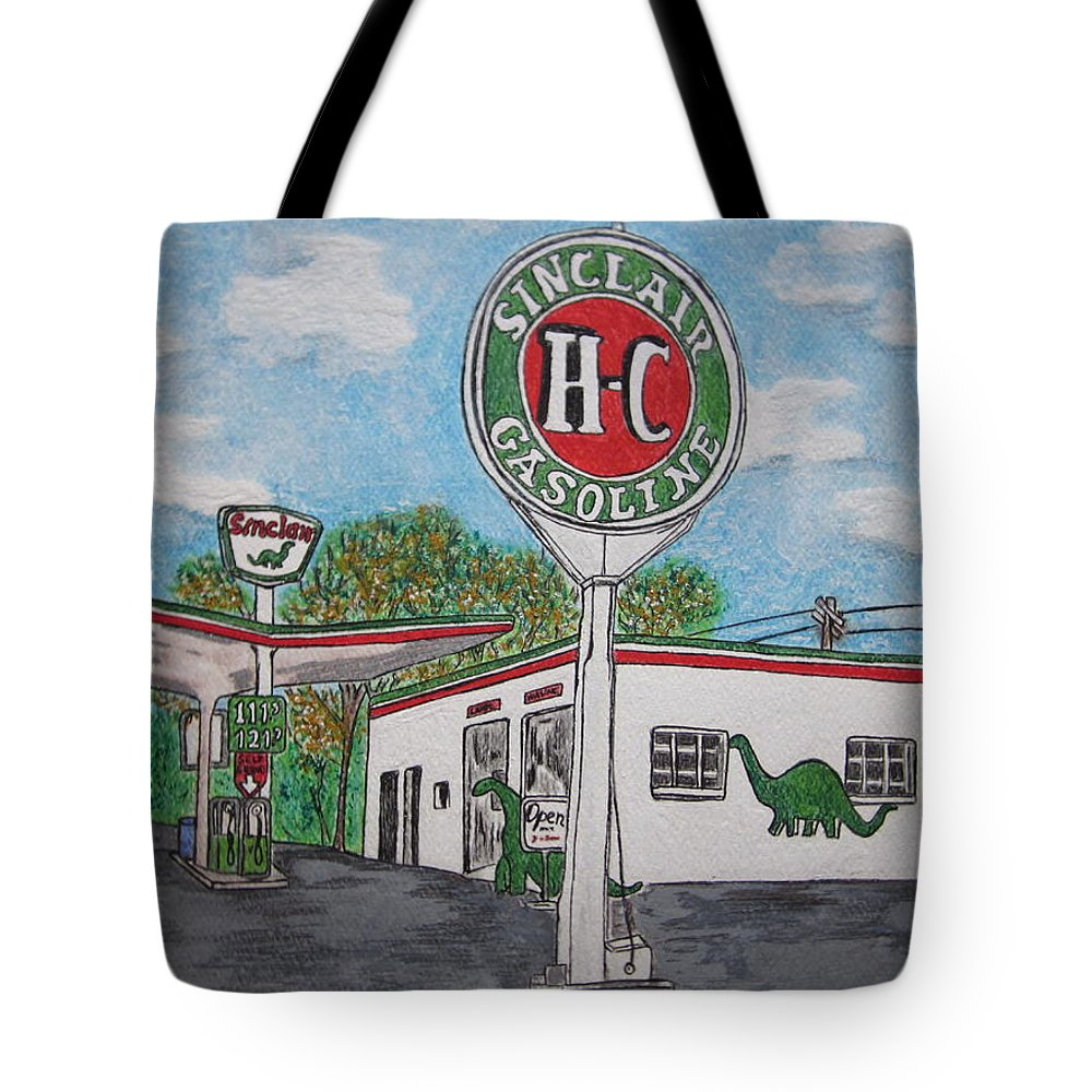 Dino Tote Bag featuring the painting Dino Sinclair Gas Station by Kathy Marrs Chandler