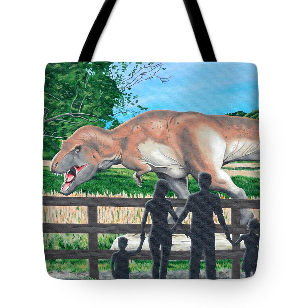 Dinosaur Tote Bag featuring the painting Dinosaur Country by Christopher Spicer