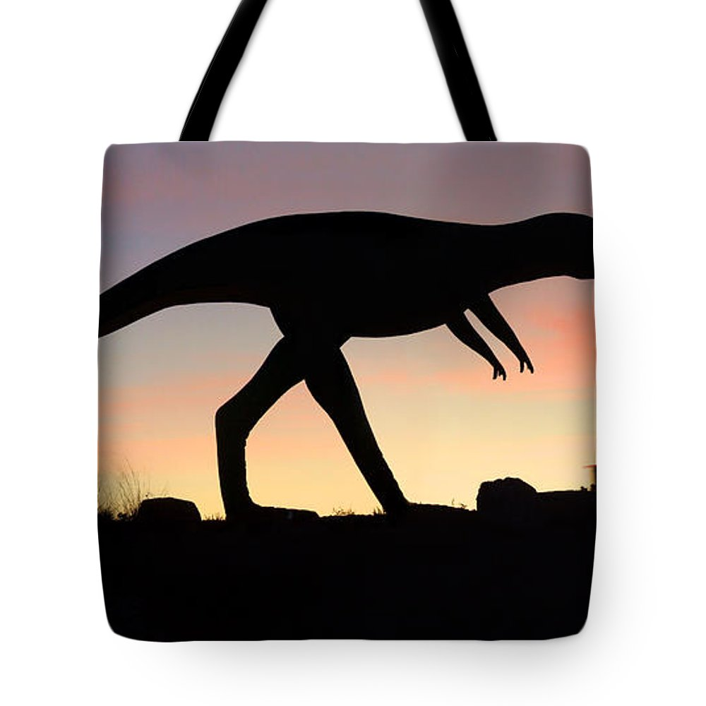 Travel Tote Bag featuring the photograph Dinosaur Loose On Route 66 by Mike McGlothlen