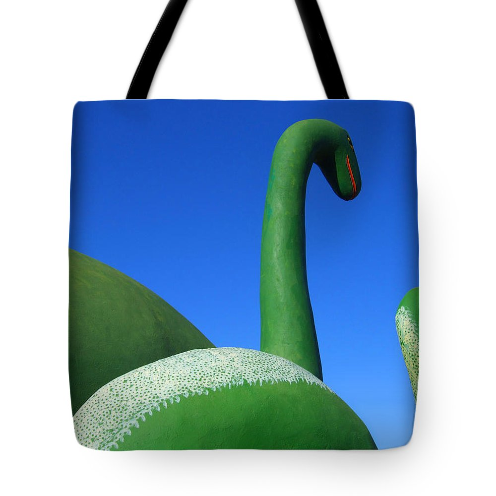 Dinosaurs Tote Bag featuring the photograph Dinosaur Walk by Mike McGlothlen
