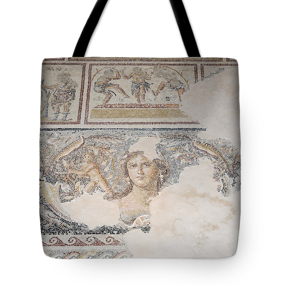 Mona Lisa Tote Bag featuring the photograph Dionysus Mosaic Mona Lisa Of The Galilee by Ilan Rosen