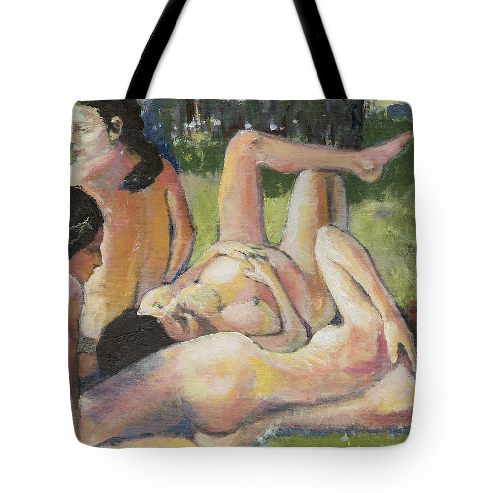 Nudes Tote Bag featuring the painting Dipping by Craig Newland