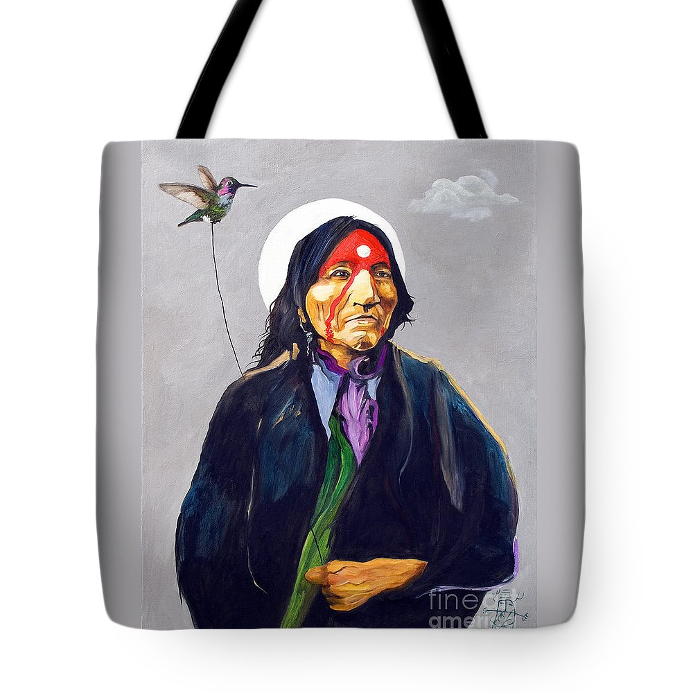 Shaman Tote Bag featuring the painting Direct Connection by J W Baker
