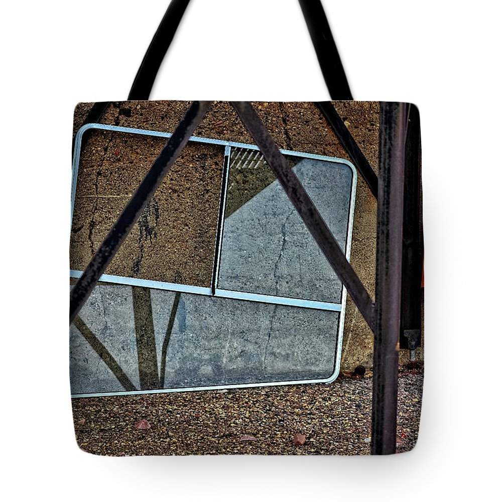 Sioux Falls Tote Bag featuring the photograph Dirty Red Umbrella by M Dale