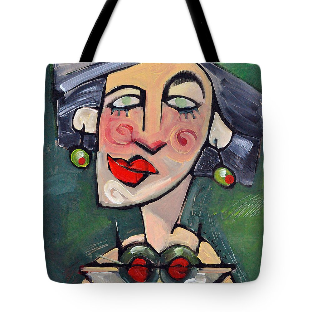Martini Tote Bag featuring the painting Dirty With Two Olives by Tim Nyberg