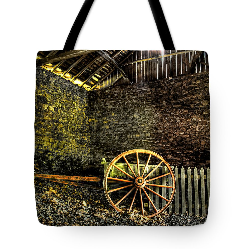 Farm Tote Bag featuring the photograph Discarded Cart by Scott Wyatt