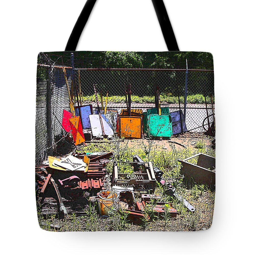 Train Tote Bag featuring the photograph Discarded Signs At The Train Station by Anne Cameron Cutri
