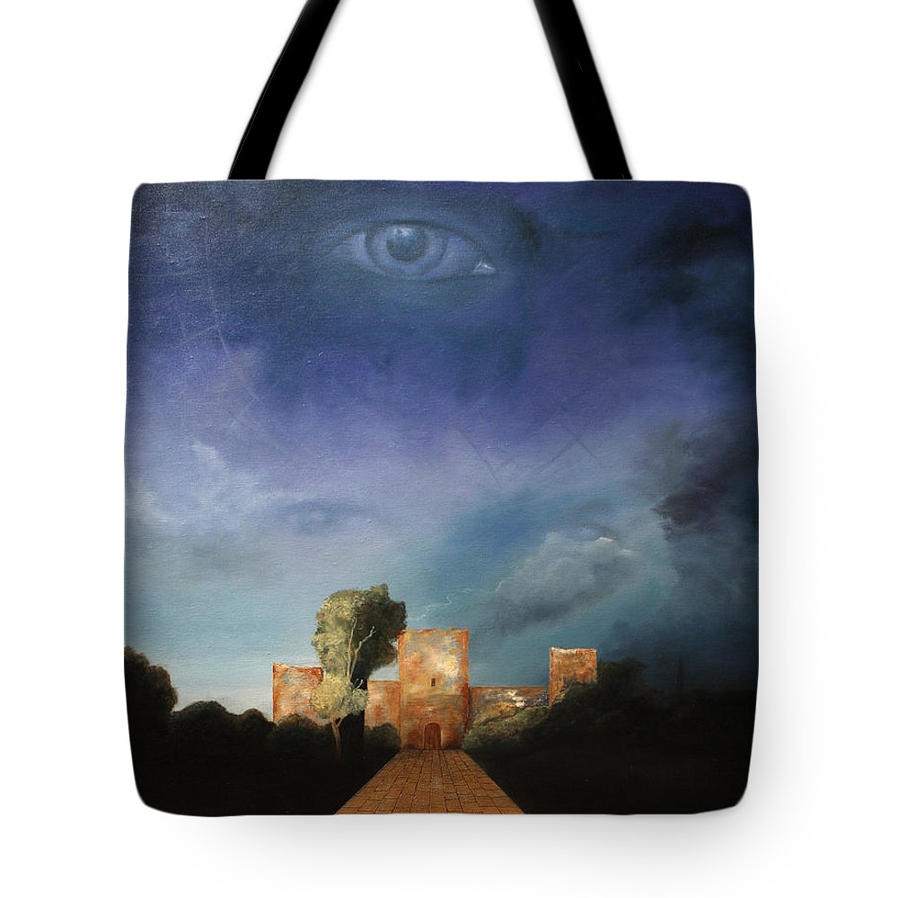 Disclosure Of The Hidden Tote Bag featuring the painting Disclosure Of The Hidden by Darko Topalski