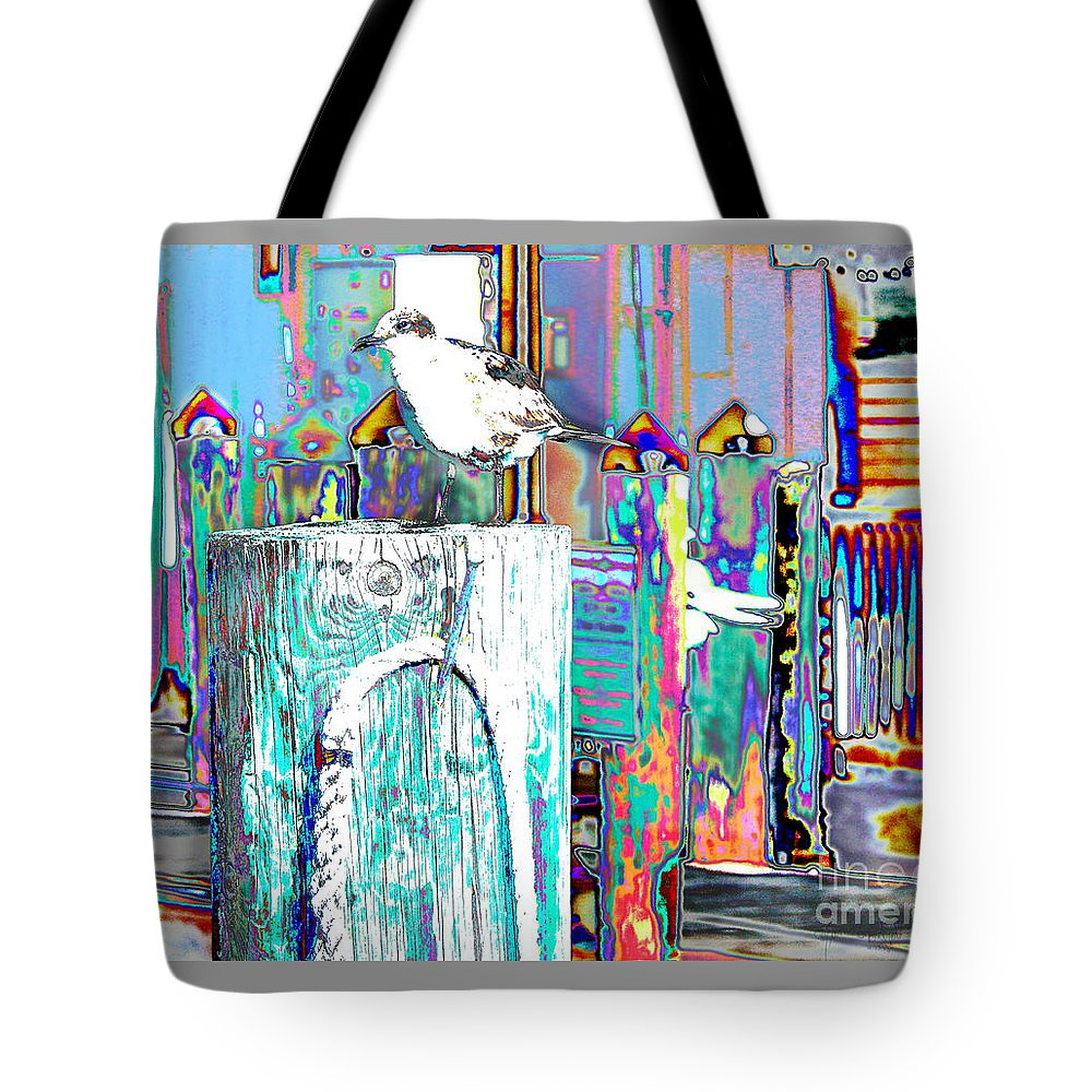 Seagull Sits On A Wharf Pilling In Key West  Tote Bag featuring the digital art Disco Dock Seagull by Expressionistart studio Priscilla Batzell
