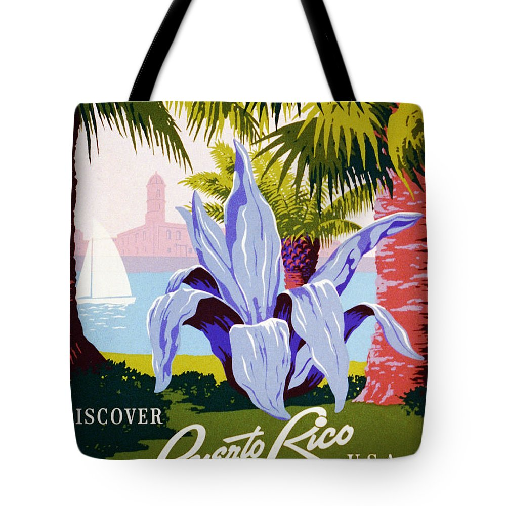 Discover Puerto Rico U.s.a. Tote Bag featuring the painting Discover Puerto Rico by Celestial Images